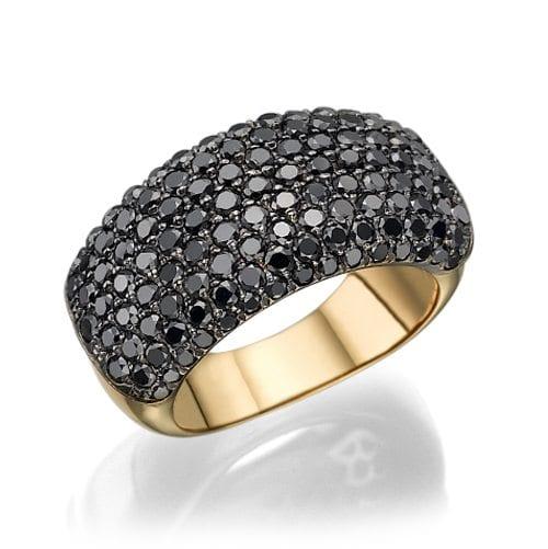 טבעת פאווה יהלומים שחורים