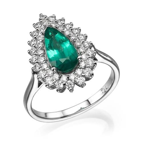 טבעת יהלומים ואמרלד