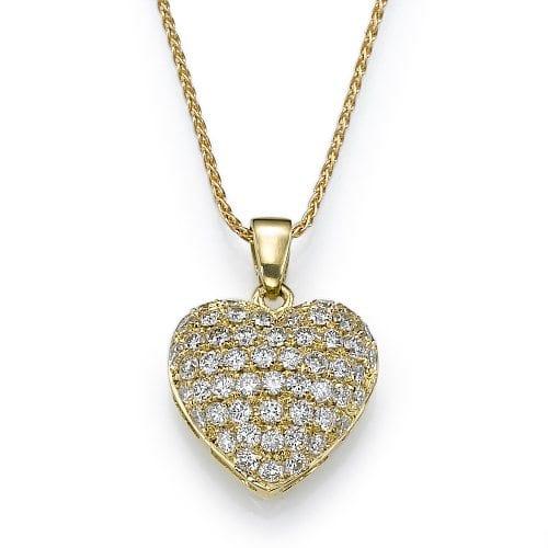 תליון יהלומים בעיצוב לב