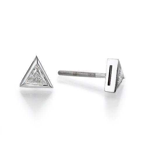 עגילים משובצים יהלומים בחיתוך משולש
