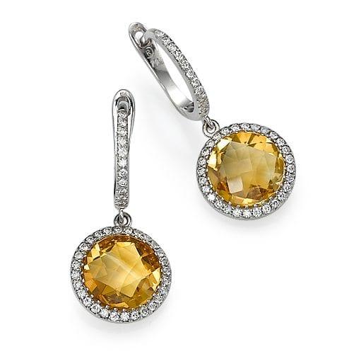 עגילי יהלומים ואבן חן סיטרין