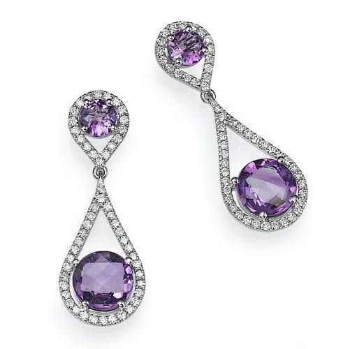 עגילי יהלומים ואבן חן אמטיסט