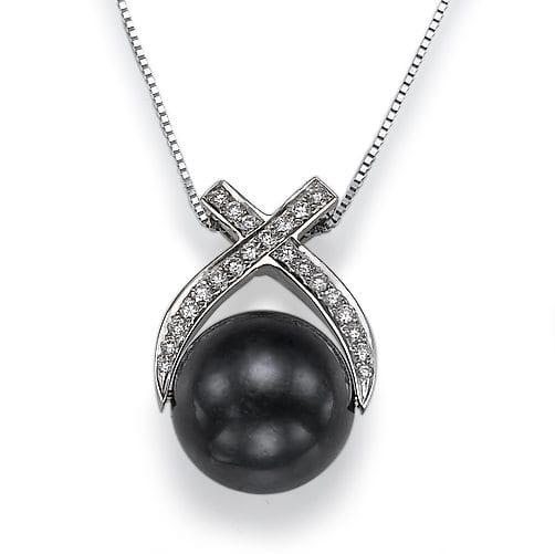 תליון יהלומים ופנינה שחורה