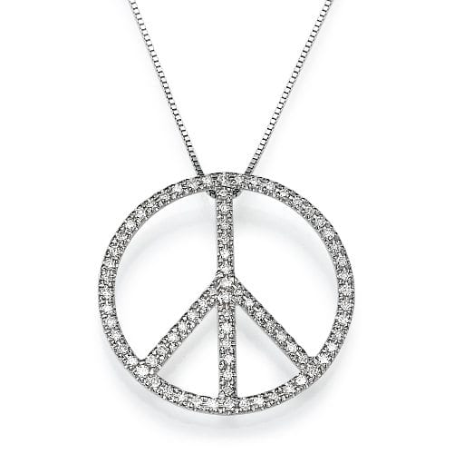 תליון יהלומים דגם Peace