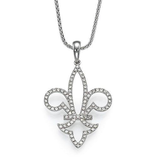 תליון יהלומים דגם Fleur de lis