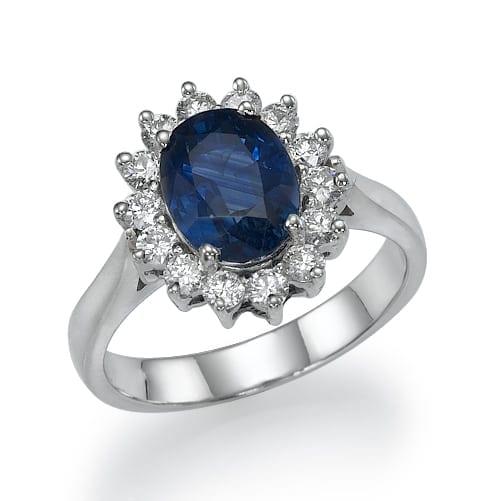 טבעת אבן חן ספיר דגם Diana
