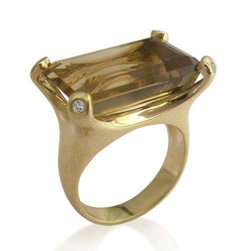 טבעת למון קוורץ ויהלומים