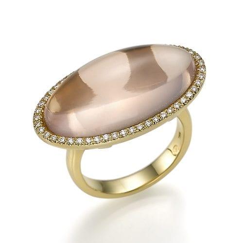 טבעת רוז קוורץ ויהלומים
