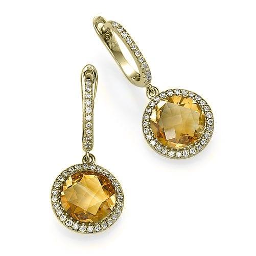 עגילי יהלומים ואבן חן סיטרין ב-40% הנחה!!!