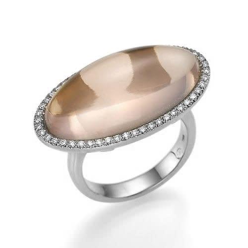 טבעת רוז קוורץ ויהלומים ב-33% הנחה!!!