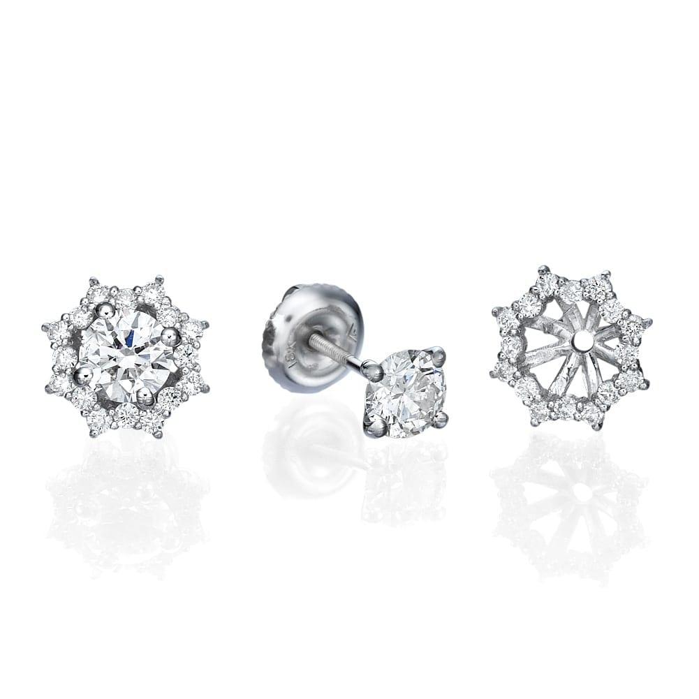 עגילי יהלומים דגם Lotus