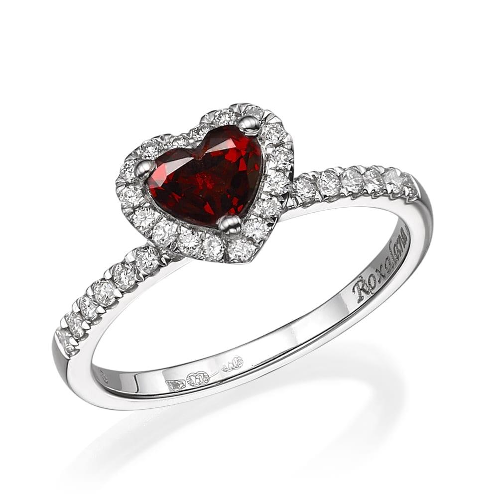 טבעת יהלומים ואבן חן גרנט דגם Roxalana