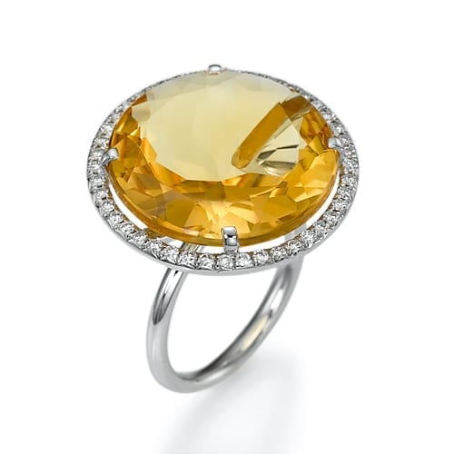 טבעת אבן חן סיטרין ויהלומים