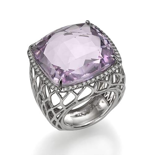 טבעת אמטיסט ויהלומים