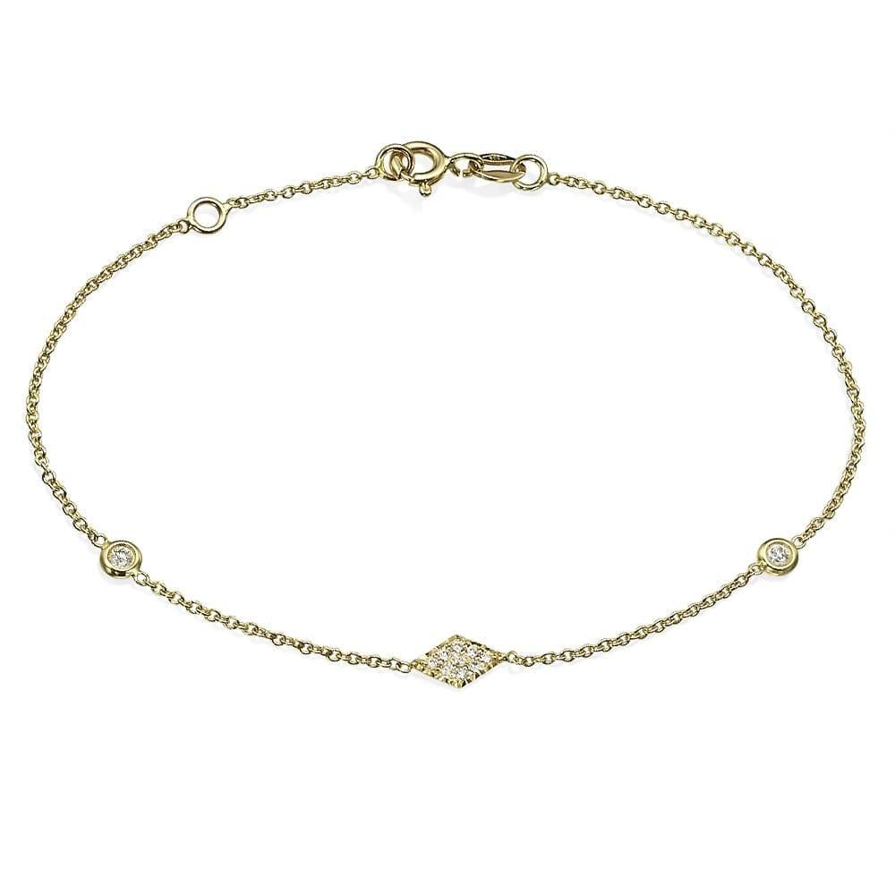 צמיד יהלומים עם עיטור מעוין