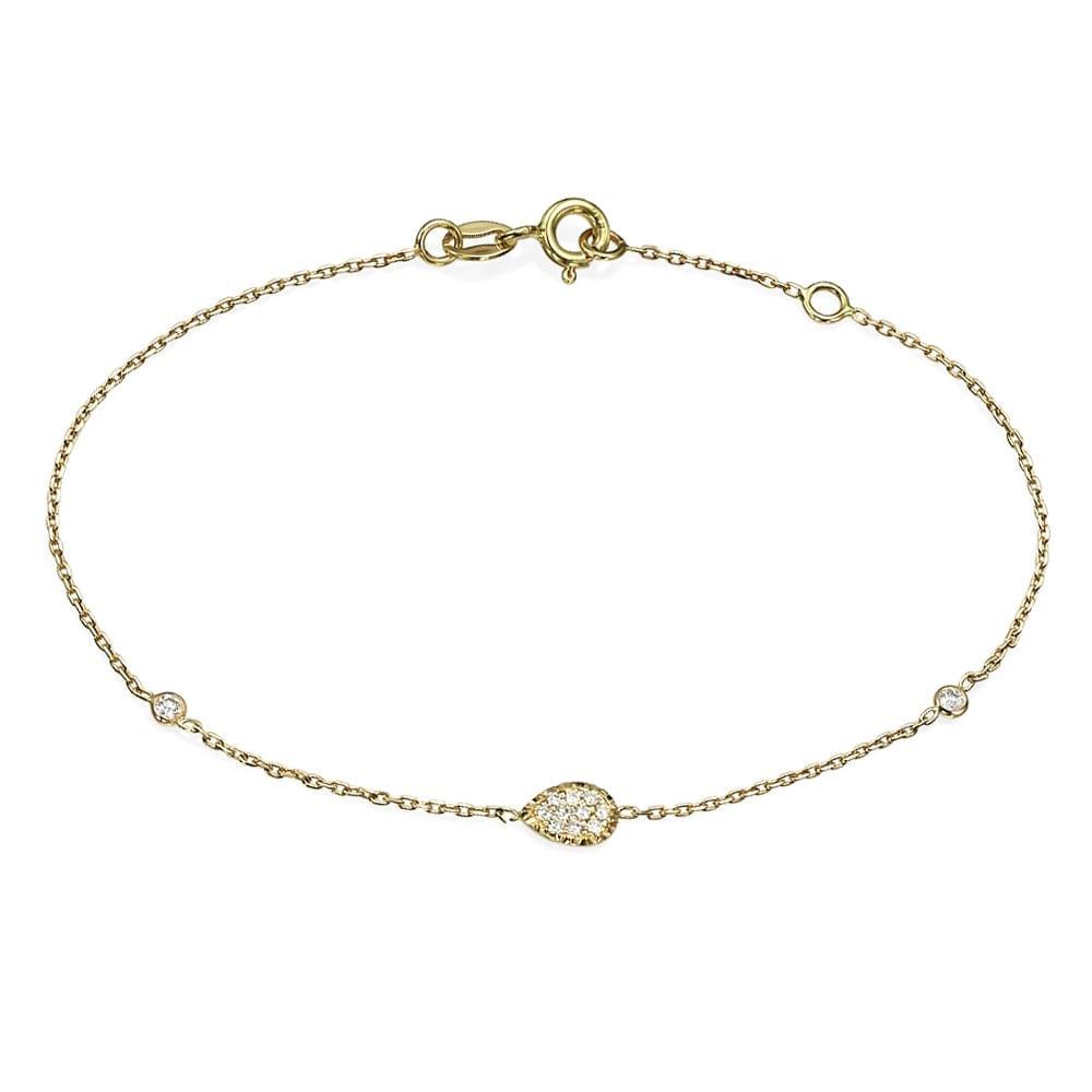 צמיד יהלומים עם עיטור טיפה