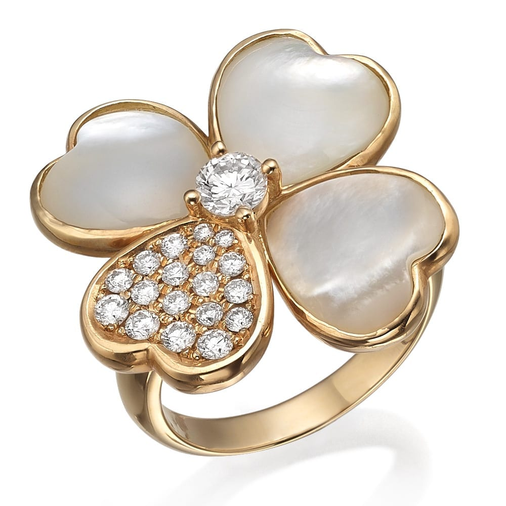 טבעת יהלומים ואבן חן אם הפנינה