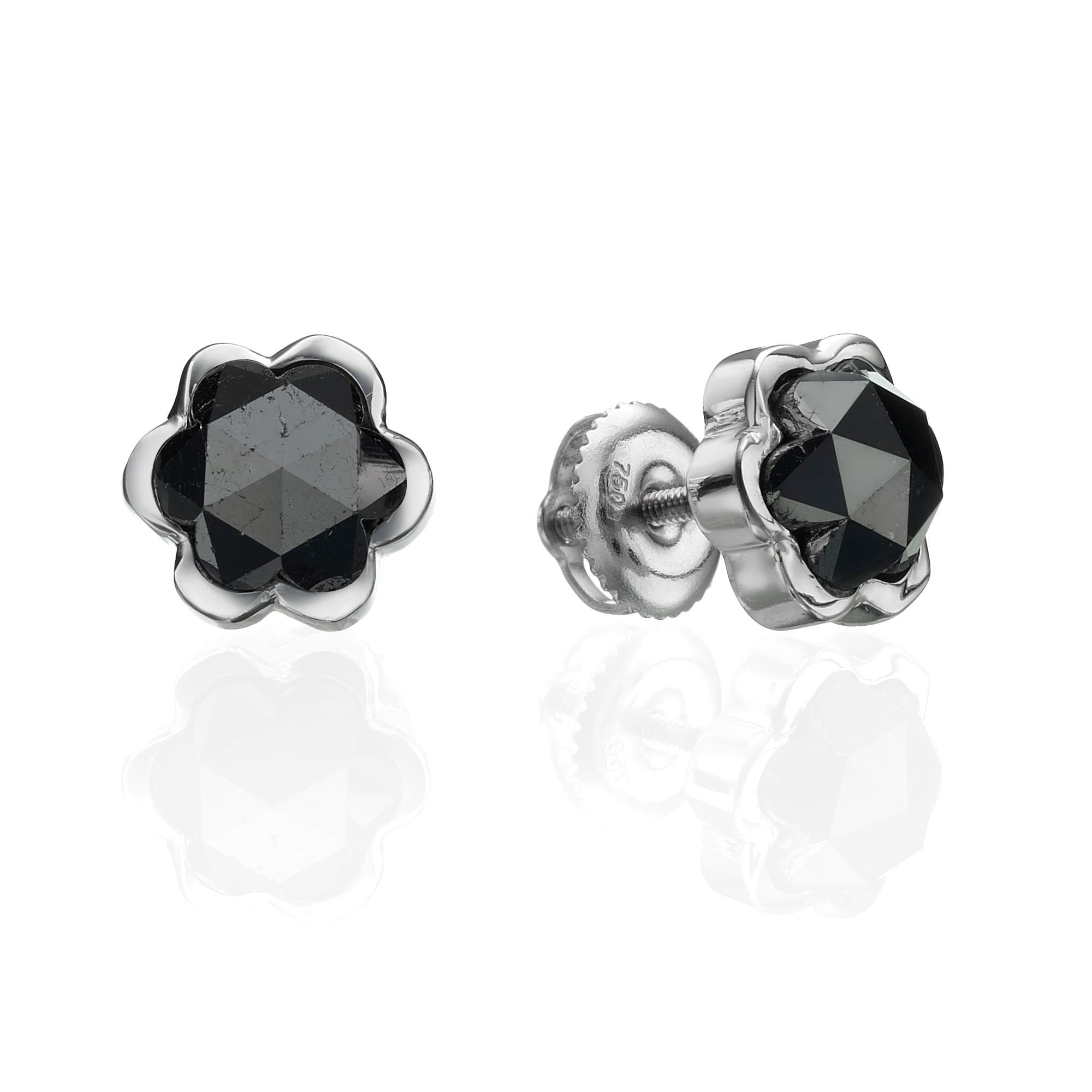 עגילי יהלומים שחורים 2.79 קראט בעיצוב פרח