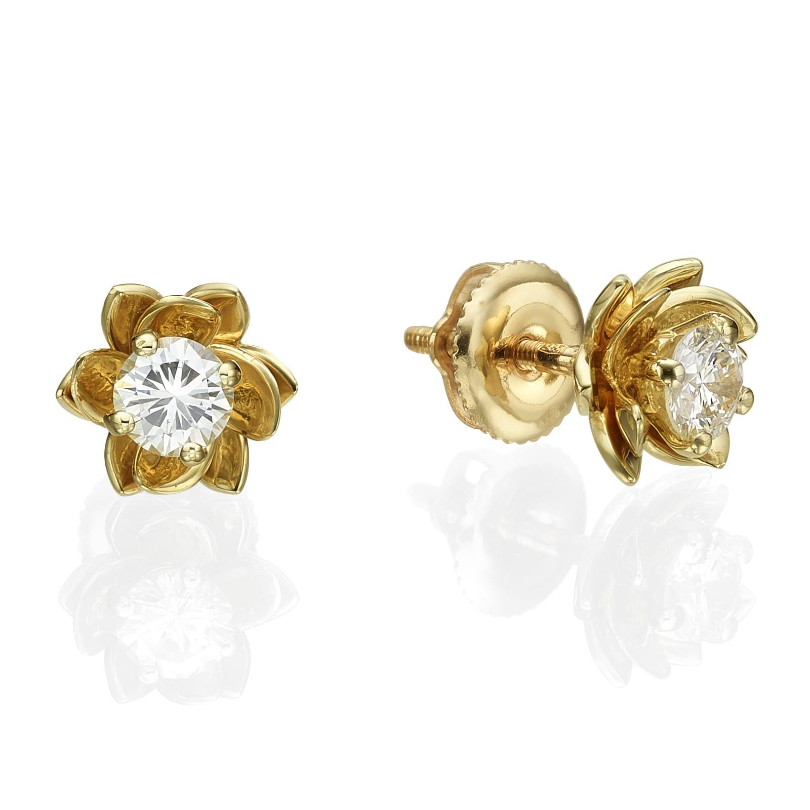 עגילי יהלומים דגם Magnolia