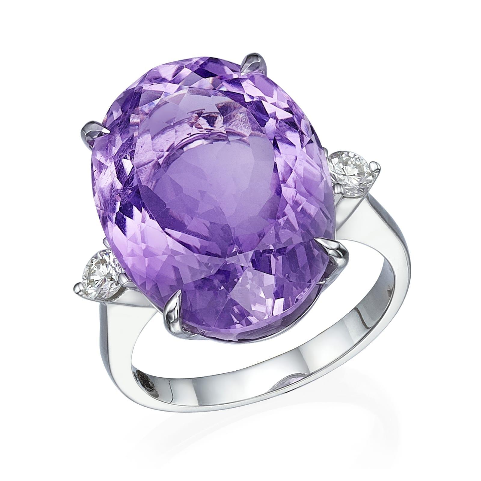 טבעת יהלומים ואבן חן אמטיסט